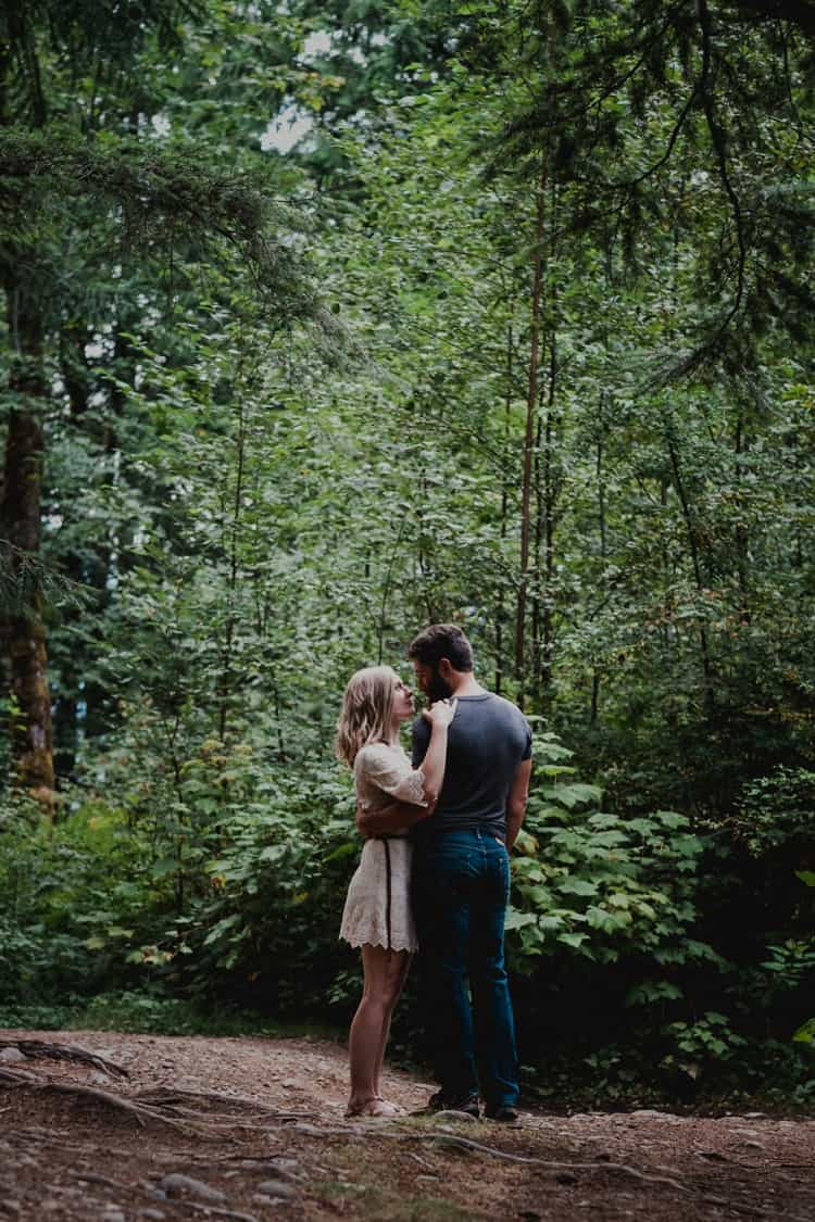 Scott and Megan cuddling in Whistler engagement photos