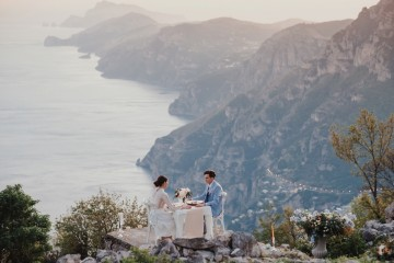 amalfi coast elopement dinner overlooking cliffs